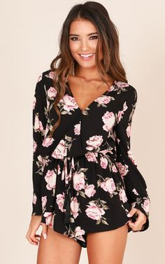Showpo Take A Chance Playsuit in black floral - 20 (XXXXL) Rompers & Cool Outfits, Summer Outfits, Fashion Outfits, Trendy Outfits, Women's Fashion, Pencil Skirt Casual, Pencil Skirts, Floral Playsuit, Rompers Women
