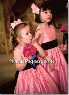 BUBBLEGUM PINK AND NAVY BLUE flower girl dresses | Pegeen ~ Located 1 mile from Disney World, Selling online and shipping worldwide. Call us for design help! 407-928-2377