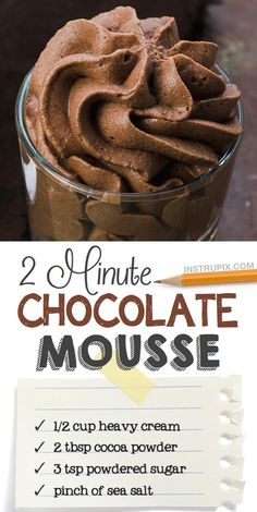 Easy No-Bake Chocolate Dessert Mousse! Just 3 Ingredients and the perfect serving for ONE. - Looking for quick and easy dessert recipes with few ingredients? This easy chocolate mousse recipe - Dessert Kabobs, Bon Dessert, Dessert Dips, Dessert Healthy, Easy Keto Dessert, Quick Healthy Desserts, Healthy Chef, Eat Healthy, No Bake Chocolate Desserts
