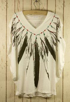 Feather Print Pea Oversize T-shirt - Short Sleeve - Tops - Retro, Indie and Unique Fashion on Wanelo