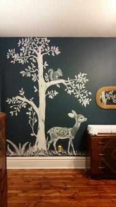 #woodland #nursery Hand-painted Woodland nursery mural inspired by vintage fabric. Mural by Cara Halderman
