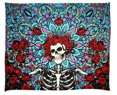 "Grateful Dead - Skeleton and Roses Bertha Fleece Blanket Warm your body and soul with this authentic Grateful Dead Blue Bertha Fleece Throw Blanket. Officially licensed by the Grateful Dead, this comfy blanket measures a sweet 45"" x 60"" . Wrap it around your body or hang it on a wall as a tapestry.  Use it at concerts or in your dorm room.  #sunshinedaydream #hippieshop"