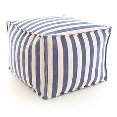 Trimaran Stripe Denim/Ivory Indoor/Oudoor Pouf $228.00