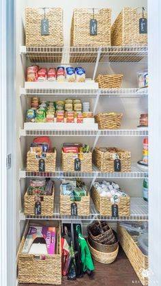 Nine Ideas to Organize a Small Pantry with Wire Shelving Reach-in pantries are tough. Practical ways that are easy to keep up with for the new year, here are nine ideas to organize a small pantry with wire shelving. Pantry Shelving, Pantry Storage, Food Storage, Shelving Ideas, Storage Jars, Kitchen Storage, Storage Ideas, Small Storage, Storage Solutions