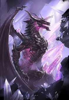 crystal dragon, purple big dragon, dragon with tusks dragon head portrait fantasy art, mythical creature design concept art illustration inspiration and ideas Amethyst General Pandox Lord of the Void Mythical Creatures Art, Mythological Creatures, Magical Creatures, Dark Fantasy Art, Fantasy Artwork, Cool Dragons, Dragon Artwork, Fantasy Monster, Black Dragon