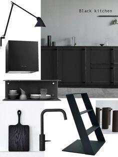 Black Kitchen details. Swedese, Louis Poulsen, Vipp