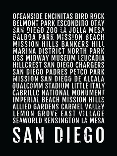 San Diego Print, San Diego Subway Sign Poster, California Wall Art, Décor, Canvas, Word Map, Gift, Bus Scroll, Typography, Minimal, Custom