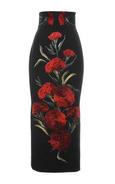 Dolce & Gabbana - Carnation Embroidered Long Skirt