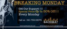 Adalah salah satu bentuk support dari kami untuk para musisi maupun band indie (none Major Lable) dimana kami akan memberikan special price sampai dengan 50%(potongan harga), khusus setiap hari senin untuk produksi audio maupun sesi rekaman.So Guys, jangan sampai gak ikutan langsung aja hub kami di 021-759-080-78 or mention twitter kami di @BackbeatStudio Jakarta dan jgn lupa untuk like page kami di www.facebook.com/Breakingmonday . Cheers...