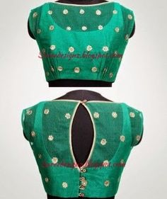 Green Silk Blouse embellished with motifs and key hole opening on back side and Boat neck pattern blouse.