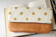 Polka Dot & Leather Fold Over Clutch Sewing Tutorial on polkadotchair.com