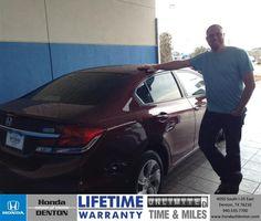 Congratulations to Jim Rutty on your #Honda #Civic purchase from Sarah Blackmon at Honda of Denton! #NewCar