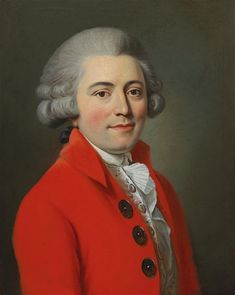 Portrait of a gentleman in a red coat, French school. 18th century
