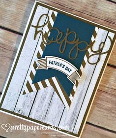 Stampin' Up! Father's Day card; Thoughtful Banners, Hello You Thinlits, prettypapercards.com