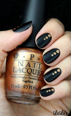 Lovely Nail Designs - Black and Gold Dotted Nail— not usually into nail...
