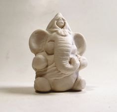 New Ganesh - Ganesha Hindu Elephant God - Porcelain Figurine Miniature - Art Sculpture Zoomorphic