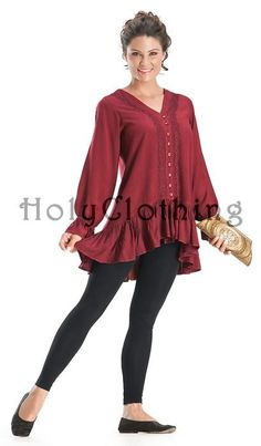 HolyClothing - Isabeau Flamenco Flounce Peasant Sleeve Button Up Tunic Top