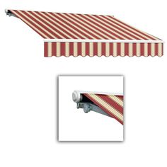 AWNTECH 16 ft. Galveston Semi-Cassette Right Motor with Remote Retractable Awning (120 in. Projection) in Burgundy/White Multi, Red