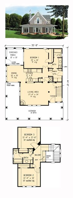 Farmhouse Style COOL House Plan ID: chp-44192 | Total Living Area: 1442 sq. ft…