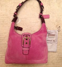 Coach Pink Suede Handbag Purse 7471