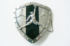 Basketball Jump Man 23 Silver Tone Black Shield Large Team Logo Belt Buckle | eBay
