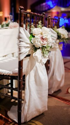 Indoor wedding ceremony chair decor, white fabric, romantic, white and pink roses // Ahava Studios Wedding Walkway, Wedding Ceremony Chairs, Wedding Table Seating, Indoor Wedding Ceremonies, Wedding Chair Decorations, White And Pink Roses, Floral Chair, Mod Wedding, Wedding Ideas
