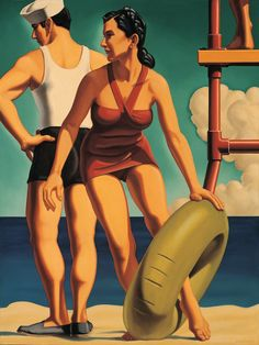 """Kenton Nelson, Tommy and Mary, oil on canvas, 40 x 30 inches """"Tommy's tears and Mary's fears Will make them old before their years"""" – Mother Goose Nursery Rhyme"""