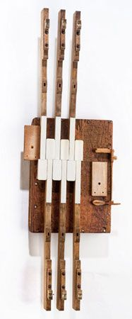 Three Muscians sculpture A collaboration between Penny Putnam and Shauna Holiman, inspired by piano parts and in many cases composed of the parts themselves. http://happyommaker.com/posts/view/33