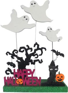 ''Happy Halloween'' Ghosts and Cat Decor