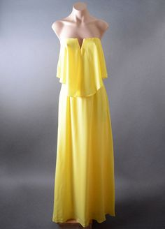 Yellow Womens Chiffon Drape Cocktail Wedding Party Evening Long Maxi Dress S M L #Other #Maxi #Formal
