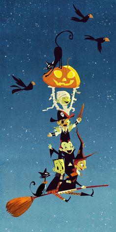 """mired-in-halloween: """"Halloween art by Eda Kaban """" Retro Halloween, Spooky Halloween, Halloween Kunst, Theme Halloween, Halloween Artwork, Halloween Items, Halloween Quotes, Halloween Pictures, Halloween Wallpaper"""