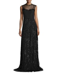 Beaded+Illusion+Chiffon+Gown,+Black+by+Alberta+Ferretti+at+Bergdorf+Goodman.