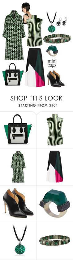 """black and green"" by moestesoh ❤ liked on Polyvore featuring CÉLINE, Issey Miyake, Emilia Wickstead, Proenza Schouler, Chloe Gosselin, Jade Jagger and David Yurman"