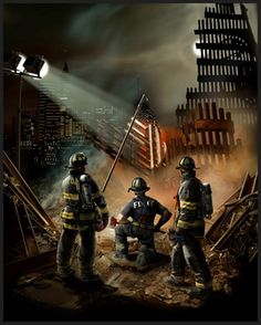 AMERICAN GRACE. I hope this painting can express some of the spectacular awe I have for my brothers' indomitable patriotism and sense of duty. This is what we are made of. Not just the Firefighters or the rescuers, but all of us who contribute to this grand success called democracy. This is what I call American Grace.