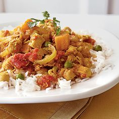 Elevate your chicken curry with the addition of sweet potato and by serving the mixture over steamed jasmine rice.