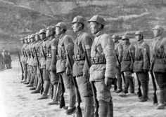 Soldiers of the Chinese communist Eighth Route Army on the drill field at Yanan, capital of a huge area in North China which is governed by ...