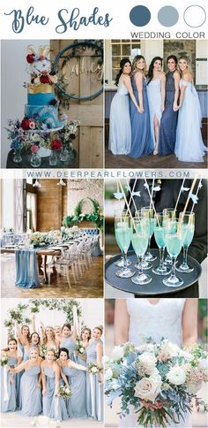 mixed blue wedding color ideas and trends Burgundy Wedding Colors, Best Wedding Colors, Blue Wedding, Wedding Bride, Wedding Goals, Spring Wedding, Bridesmaid Dress Styles, Blue Bridesmaids, Wedding Motiff