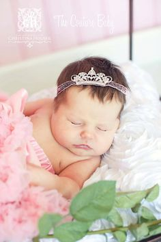 PRINCESS and the PEA Pink Glitter Crown by CoutureBabyHeadbands, $16.99
