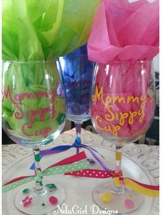 Check out this item in my Etsy shop https://www.etsy.com/listing/174196343/mommys-sippy-cup-vinyl-wine-glass-custom