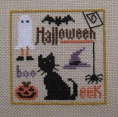 "Trilogy design: ""Halloween Spots:"" over one; 28 ct. Summer Khaki Cashel linen; DMC and Gentle Arts threads."