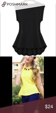 short sleeve asymmetric floral blouse black floral top size medium bust 34-36. Waist 25-27. Hips 36-38 Tops Tank Tops
