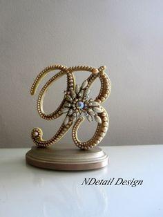 Wedding Cake Topper Monogram Letter B in Gold by NDetailDesign, $120.99