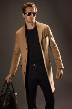 Camel Hair Fitted Coat, Black Sweater and Jeans, by Massimo Dutti. Men's Fall Winter Fashion.