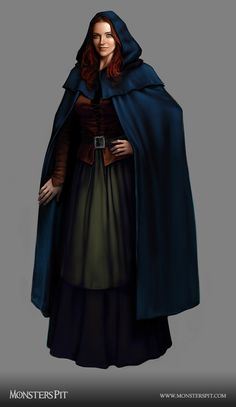 f Noble wizard Townsperson Robes Cloak traveler npc Dungeons And Dragons Characters, Dnd Characters, Fantasy Characters, Female Characters, Fantasy Figures, Fantasy Wizard, Fantasy Rpg, Medieval Fantasy, Fantasy Portraits