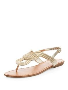 Gold Metal Twist Sandals | New Look