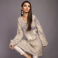 Designer Sana Safinaz...Pretty pastels .. Shirt kuch zayada hi short ha but still love the colour n kaam