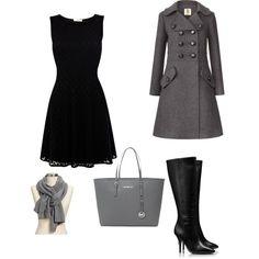 oooh I like the dress and the coat... I'd kill myself with those heels though