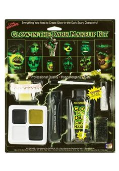 This Glow in the Dark Make-up Kit glows in black light too and washes off with soap and water. The Kit contains:- 4 colour Makeup Tray, Glow in the Dark Makeup Crayon, Glow in the Dark Fake Skin, Glow in the Dark Transparent Cream Makeup, Horror Teeth, Stipple Sponge, Contour Sponge and Makeup Brush. Not recommended for children under 10 years.