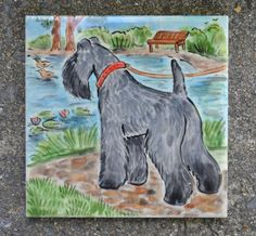 Kerry Blue Terrier  . Handpainted ceramic tile..LOOK