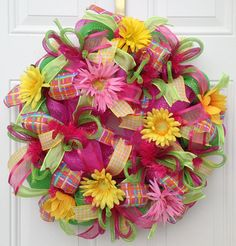 Deco Mesh Wreath Summer  Pink Flower Wreath by KaylasKreationsTX